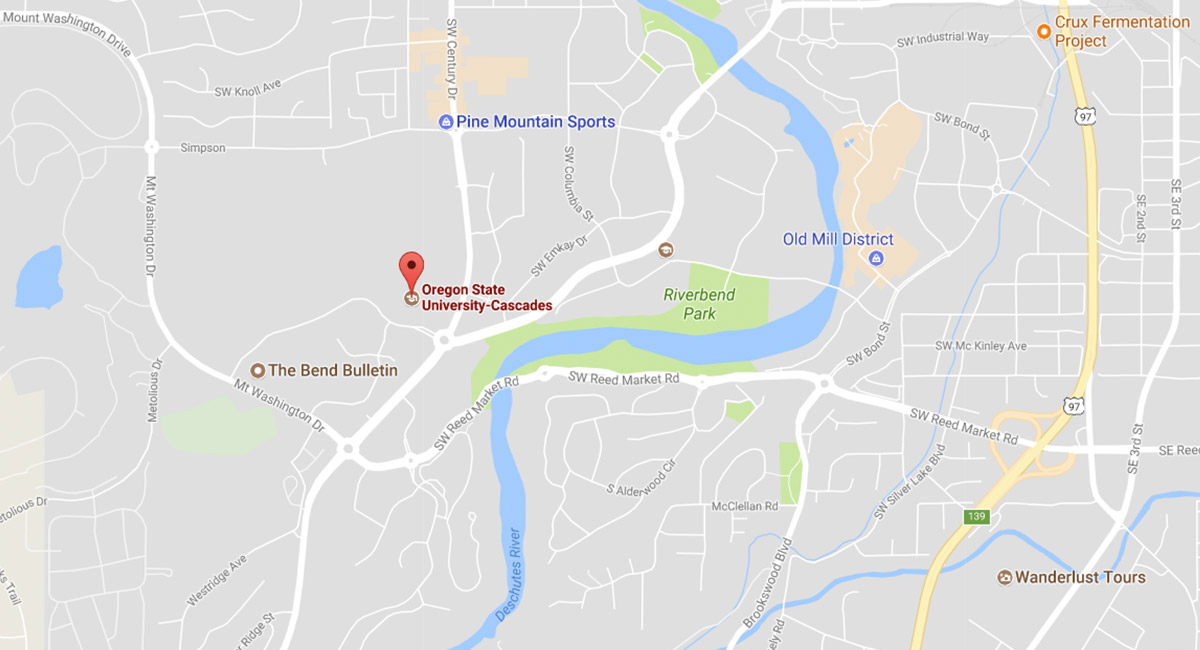 A google map of Oregon State-Cascades campus in Bend.