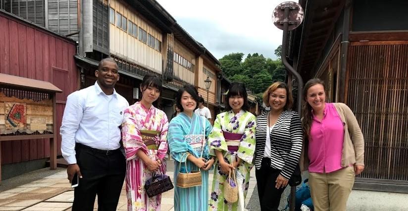 People in Japan wearing kimonos